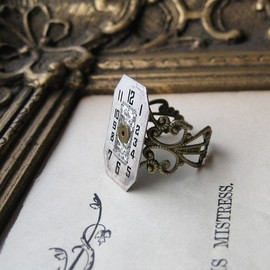 NobleStudiosLtd - Steampunk Ring Art Deco Antique Watch Parts 1920 vintage recycled jewellery