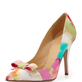 kate spade NEW YORK - kate spade new york lillia floral-print silk bow pump