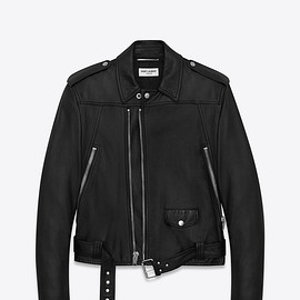 SAINT LAURENT PARIS - MOTORCYCLE JACKET IN BLACK LEATHER