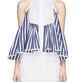sacai - Perforated bib flare hem stripe sleeveless shirt