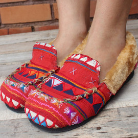 Womens Slippers in Colorful Red Tribal Akha Embroidery