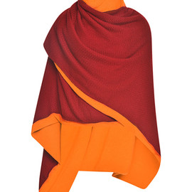 PRABAL GURUNG - FW2014 Bordeaux And Cantaloupe Cashmere Double Layer Shawl