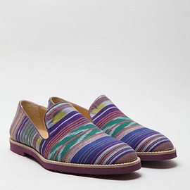 T & F Slack, oki-ni - Ikat Slip on Shoes with Micro Sole