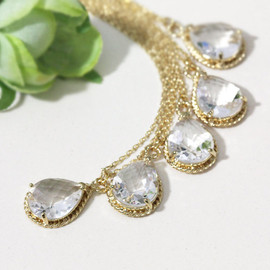 Bridesmaid gifts - Set of 5 - Clear white crystal drop necklace, Gorgeous Drop ,stone in twisted bezel