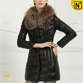 Cwmalls - Womens Leather Down Coat CW613507 Cwmalls