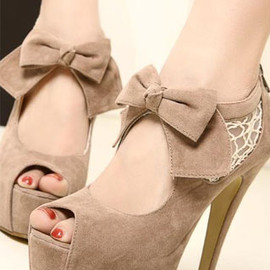 fashion - Image of [grzxy61900018]Elegant Bowknot Lace High-heeled Peep-toe Shoes