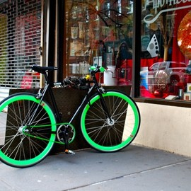 Fixed Gear Bike  - Black & Green Fixed Gear Bike