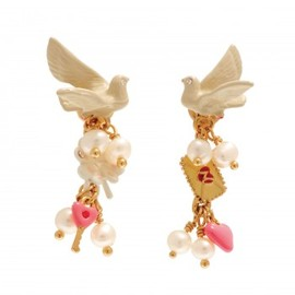 Les Nereides - Messagère Earrings: Swallow and pendants