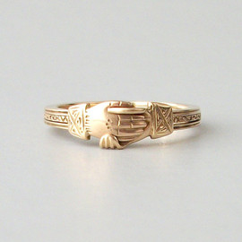 Rare Antique Fede Gimmel Ring . Opening Triplet . Gold Hands Hearts .