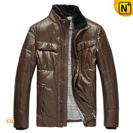CWMALLS - Mens Casual Down Leather Jackets CW832203 - CWMALLS.COM