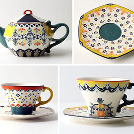 ANTHROPOLOGIE - Anthropologie Folk Art tea set
