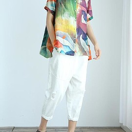 shirt - Silk linen large size shirt, Oversize womens blouses, summer t-shirts