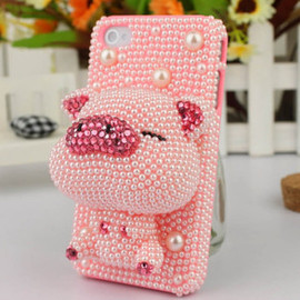 lovely solid cartoon pig Rhinestone case for iphone 4/4s