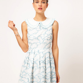 Nishe - Embroidered Clouds Prom Dress With Detachable Coller