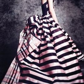 Christian Lacroix - pink and black stripe gown