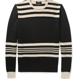TODD SNYDER - Striped Wool Sweater in Black