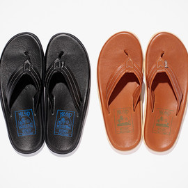 Island Slipper - Stussy x Island Slipper 2012 Leather Sandal - Black/Blue