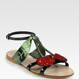 miu miu - Glitter Cherry Metallic Leather and Patent Leather Sandals