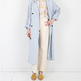 Creatures of Comfort - Pierre Trench - Linen Stripes White & Blue
