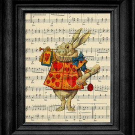 The White Rabbit Alice In Wonderland On Antique Sheet Music Art Print
