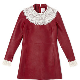 VALENTINO - Agnello Long Sleeved A-Line Dress With Embroidered Yoke