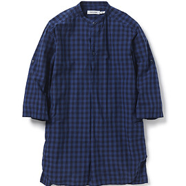 nonnative - TRAVELER PULLOVER LONG SHIRT QS COTTON INDIGO CHECK