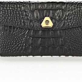 ALEXANDER WANG - Trigone Wallet in Embossed Black with Yellow Gold in Black