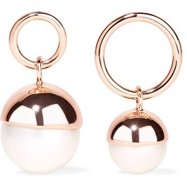 Ryan Storer - Rose gold-plated faux pearl earrings