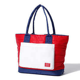 "HEAD PORTER - ""RUKA"" TOTE BAG RED/NAVY"