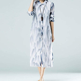 long dress - women loose Single breasted clothes Long Cotton and linen dress/ Long Cardigan shirt