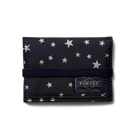 "HEAD PORTER - ""STELLAR (NEW)"" BAND CARD CASE NAVY"