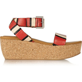 See by Chloé - Alia striped leather wedge sandals