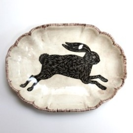 Don Carney transfer ware - black rabbits