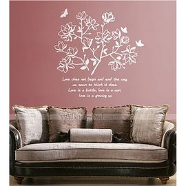 wallstickerdeal - Magnolia Flower And Butterfly Wall Stickers