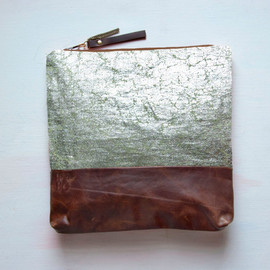 Annie Olean Bukhman - S I L V E R Metallic Leather Clutch. Large Make Up Bag. Green Tea Linen with Silver Foil