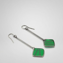 BOTTEGA VENETA - Irish Green Enameled Oxydized Silver Rete Earring