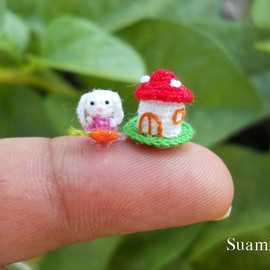 SuAmi - Teeny Tiny Miniature Crochet Bunny Rabbit Amigurumi With Carrot and Mushroom House