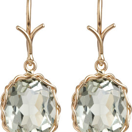 dean harris - Green Quartz Oval Drop Earrings