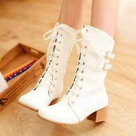 Buckles White Lace Up Block High Heels Shoes Mid Calf Vintage Boots