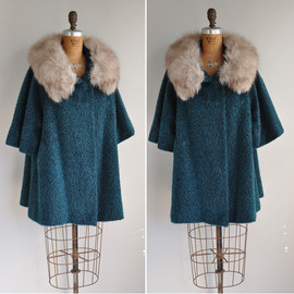 Lilli Ann - vintage 1950s coat / 50s rare designer Lilli Ann teal green fur coat / In My Dreams