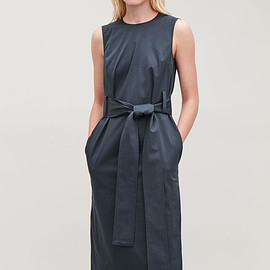 COS - Cos belted sleeveless dress in blue