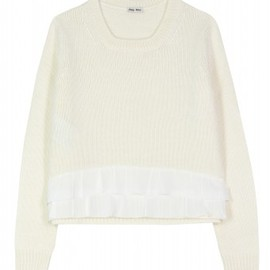 miu miu - - KNIT PULLOVER WITH SILK PLEATING - mytheresa.com GmbH