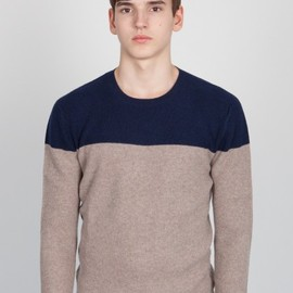 CHAUNCEY - Cashmere Color Block Waffle Crew Neck Jumper