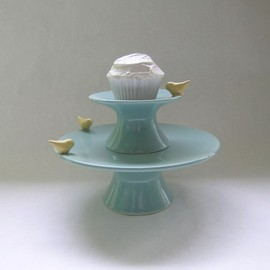 whitneysmith - Bird Cake and Cupcake Ceramic Stand in Robin Egg Blue