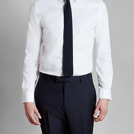 HARDY AMIES - WHITE POPLIN COTTON SHIRT