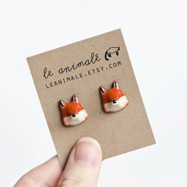 leanimale - Le Red Fox Stud Earrings