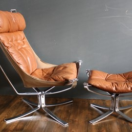 vintage brown leather CHROME framed Falcon chairs AND OTTOMAN FOOTSTOOL designed by Sigurd Ressell