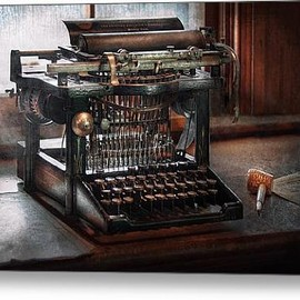 Fine Art America - Steampunk - Typewriter - A really old typewriter Canvas Print / Canvas Art - Artist Mike Savad