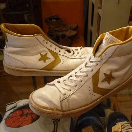 "converse - 「<used>'79 converse ALLSTAR BASKETBALL PRO LEATHER HI white/gold""made in USA"" size:US9(27.5cm) 18800yen」完売"