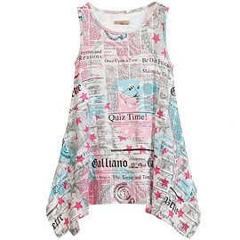 John Galliano - Pink Gazette Print Jersey Dress